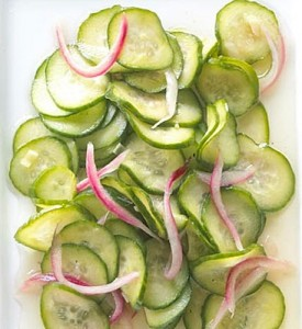 Homemade Pickled Cucumbers with Onions
